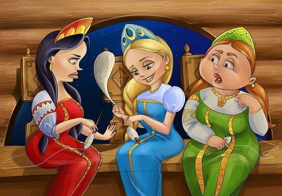 сказка три девицы под окном