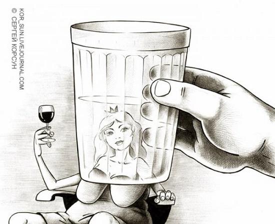 карикатура про стакан
