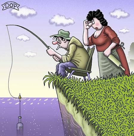 карикатура про охоту и рыбалку