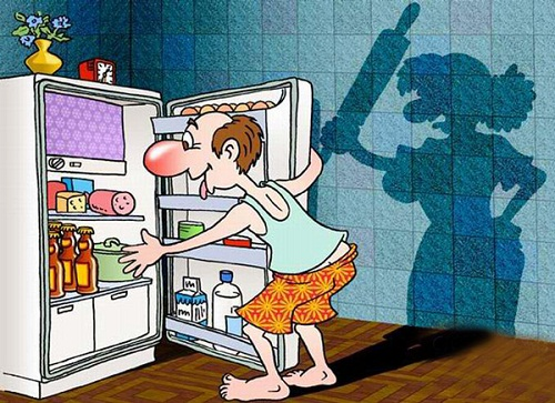 прикольная карикатура про мужа и жену