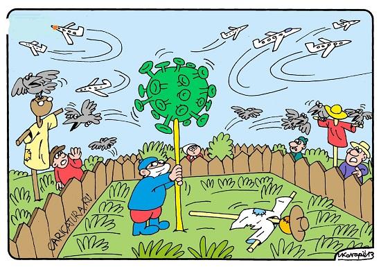 карикатура и картинка про коронавирус