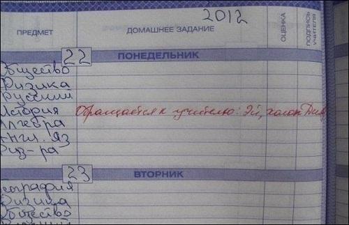 Прикольные записи в дневнике