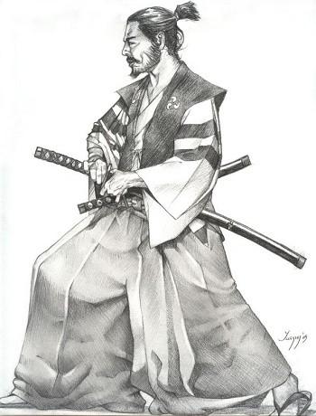 самурай с мечом на левой стороне
