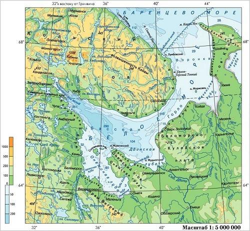 белое море на карте россии